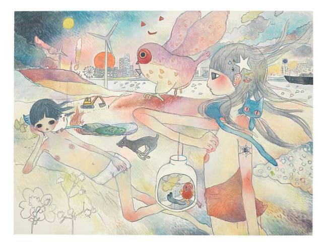 佳士得「童心未泯:亞洲當代藝術」專場,高野綾 《呼喚貓頭鷹的她凝望遠方。 四周的...