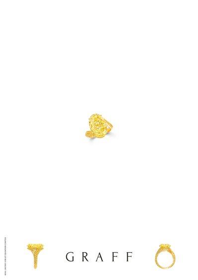 格拉夫9.88克拉橢圓形黃鑽戒指,價格店洽。圖/格拉夫提供