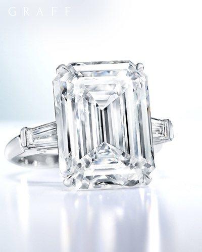 格拉夫10.61克拉祖母綠形切割鑽石戒指,價格店洽。圖/格拉夫提供
