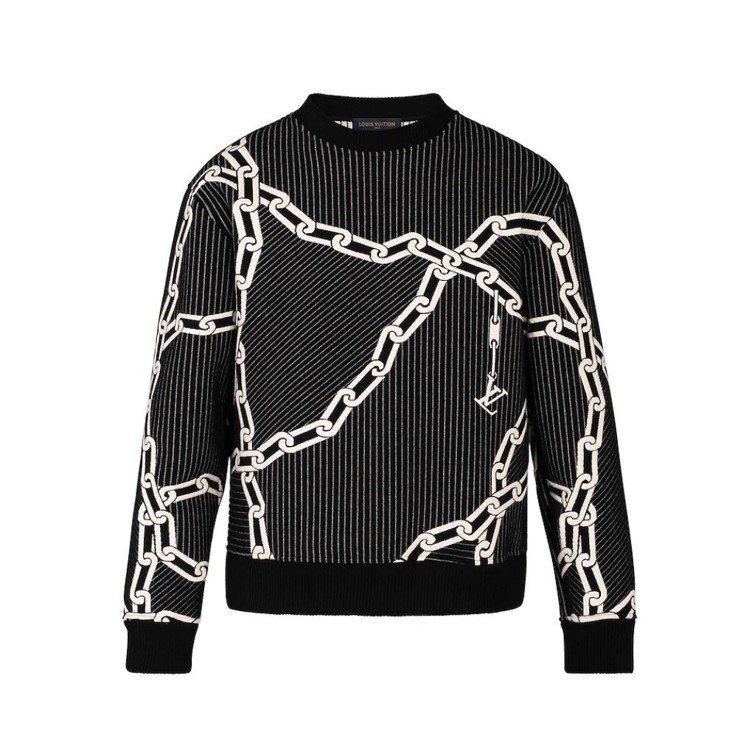 路易威登絎縫立體效果鍊帶衛衣,44,800元。圖/取自品牌官網