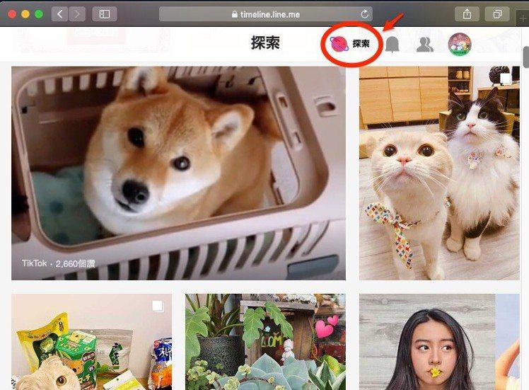LINE貼文串的網頁版,新的「探索」功能在這邊也有。圖/摘自LINE台灣官方部落...