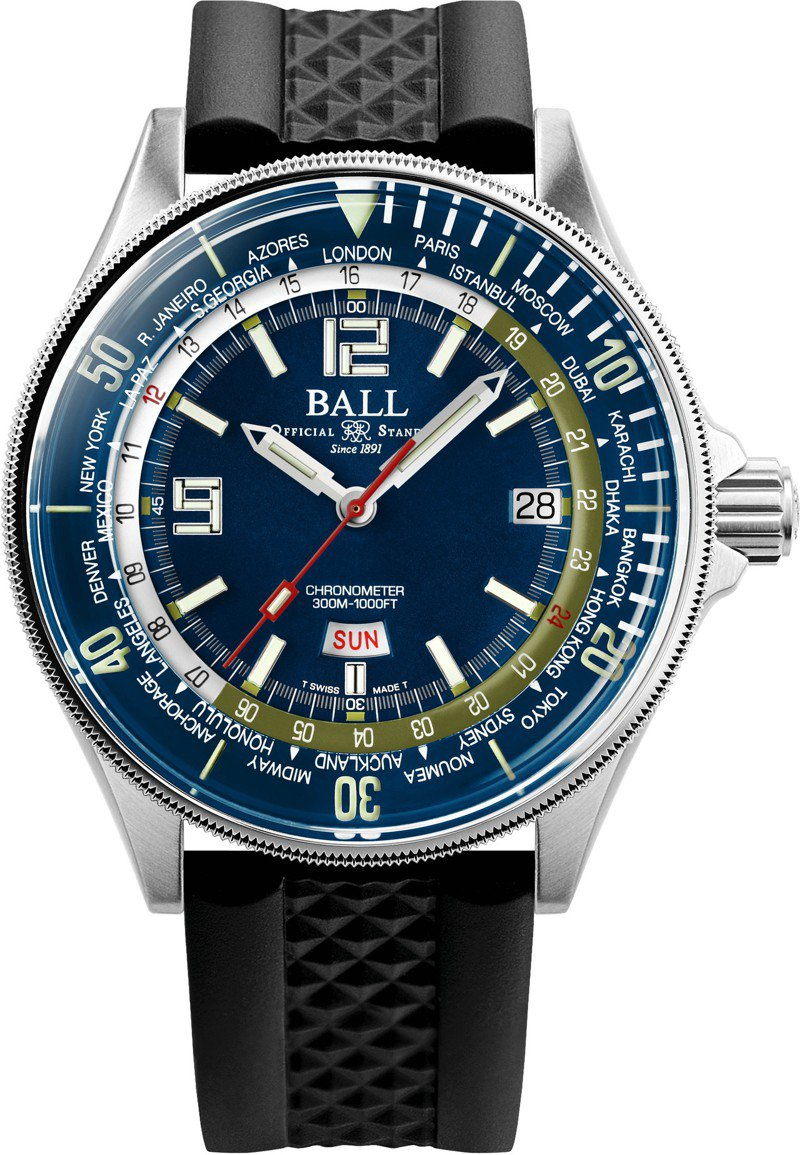 Ball,EN Master II diver世界時區腕表,結合專業防水性能與世界時區功能,機芯並具瑞士天文台認證,79,800元。圖 / Ball Watch提供。
