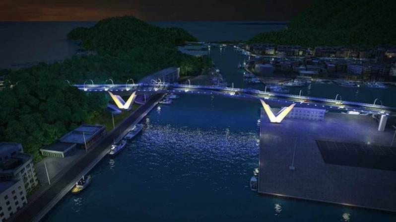 南方澳跨港大橋重建工程,夜間設光雕,引用鯖魚設計概念,照明效果上,橋身會出現像鯖魚魚身的靛藍色彩投光。圖/蘇花改工程處提供