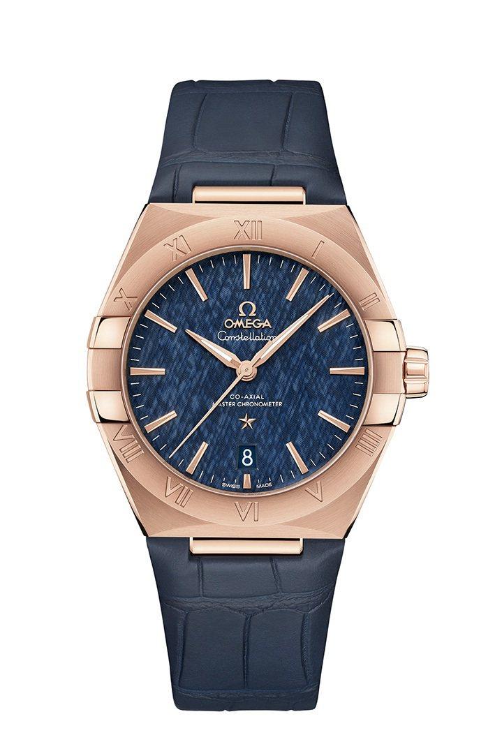 OMEGA,Constellation星座系列腕表,玫瑰金,同軸擒縱自動上鍊機芯,41mm,時間顯示,價格店洽。圖 / OMEGA提供。