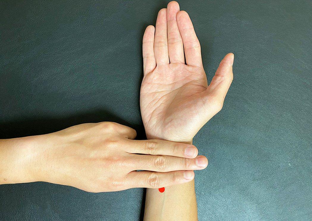 內關穴,位於腕橫紋上2寸。圖/嘉義長庚提供