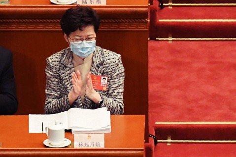 22日,北上赴京參加兩會的香港特首林鄭月娥。 圖/法新社