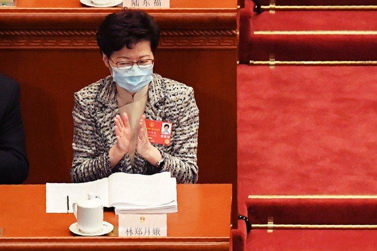 22日,北上赴京參加兩會的香港特首林鄭月娥。