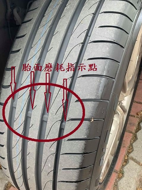 車胎上有凸出的橡膠塊,當胎面摩擦到橡膠塊時,意謂輪胎已達磨耗限度。 圖/旗山監理...
