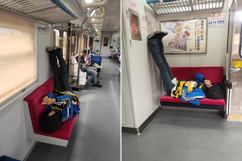 有網友日前搭區間車時看到一名乘客躺在博愛座上,雙腳還抬高靠在牆上和透明隔板上,讓他看不下去PO網痛批。 圖/翻攝自「爆怨公社」