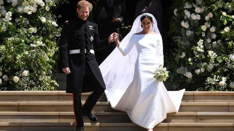 哈利和梅根兩年前舉辦了備受全球矚目的婚禮。圖/路透資料照片