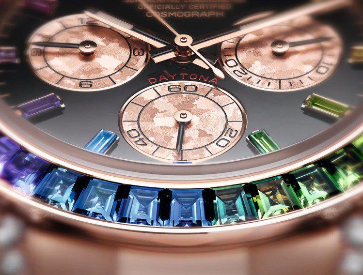 誰人想過把一抹彩虹留在手表上?勞力士的蠔式恒動宇宙計型迪通拿寶石款,用漸變的方形...