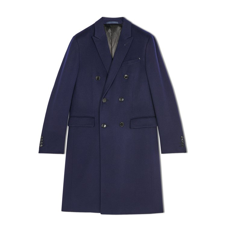 Berluti,藍色長版雙排釦羊絨大衣,22萬1,000元。圖 / Berlut...