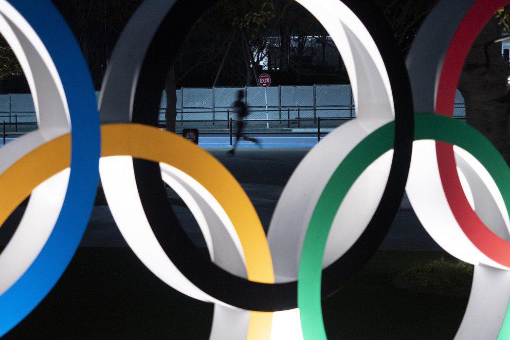 東京的奧運五環標誌。美聯社