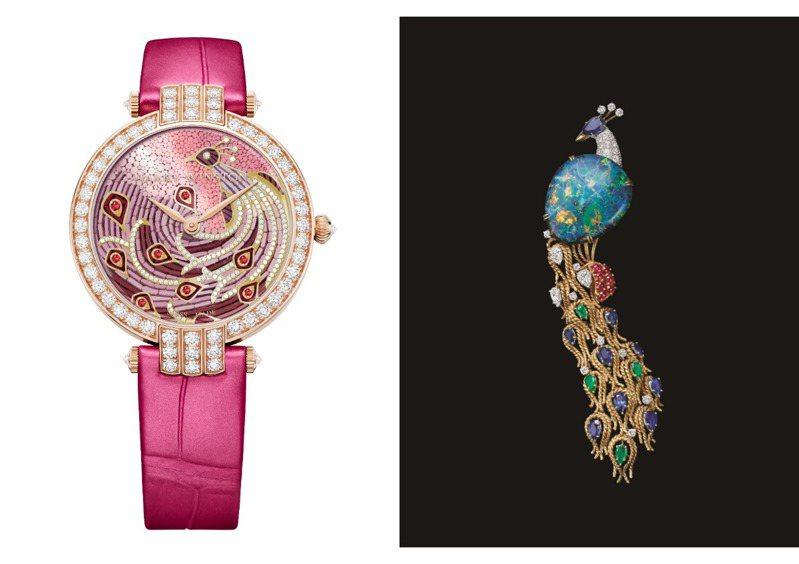 從古董珠寶靈感而來,Harry Winston打造出兩款Premier系列孔雀主題珠寶腕表。圖 / Harry Winston提供。