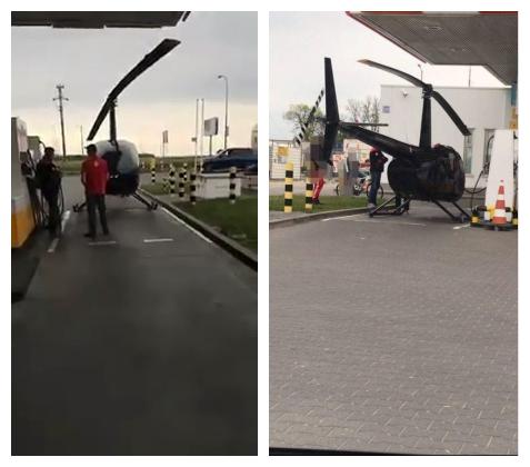 這名機師將降落的直升機推進加油站。一臉錯愕的民眾看著他若無其事地加油、付錢、拿收...