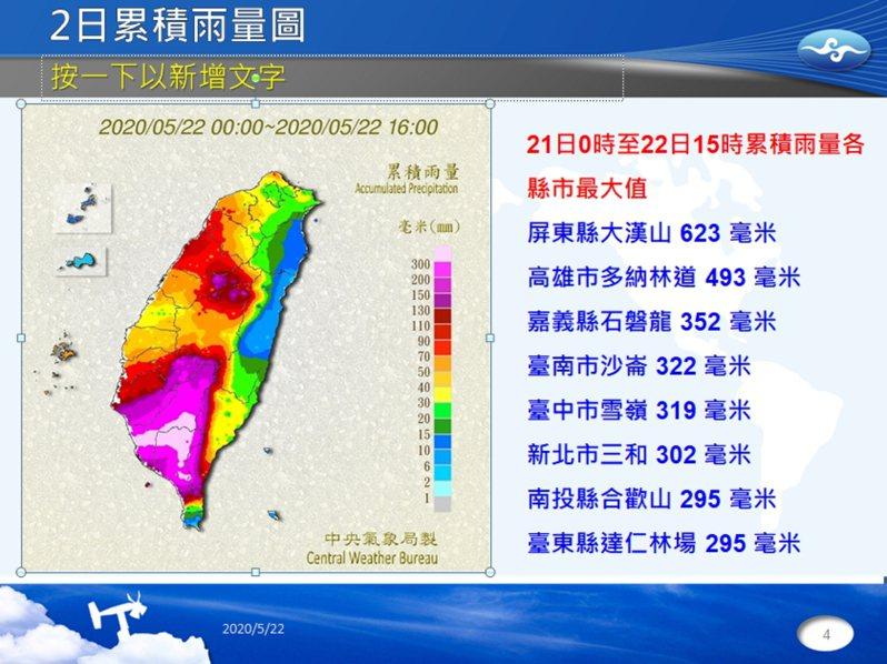 受到滯留鋒面及西南氣流影響,豪雨轟炸南台灣,全台積淹水通報件數共261處,截至今晚10時己退水80處,尚有181處仍積水未退,其中以高雄市尚有128處最多。圖/中央疑象局提供