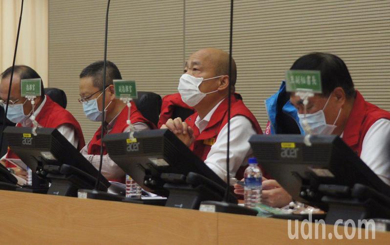 高雄市長韓國瑜今天主持豪雨應變會議。圖/聯合報系資料照(記者林保光攝影)