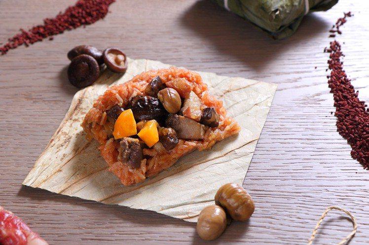 台北老爺的養生粽「紅麴臘味酵母豬粽」。圖/台北老爺提供