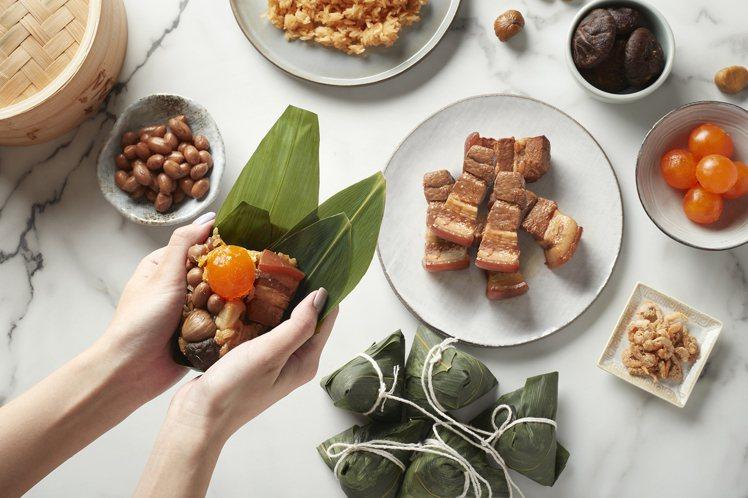 台北喜來登以多款養生食材入粽。圖/台北喜來登提供