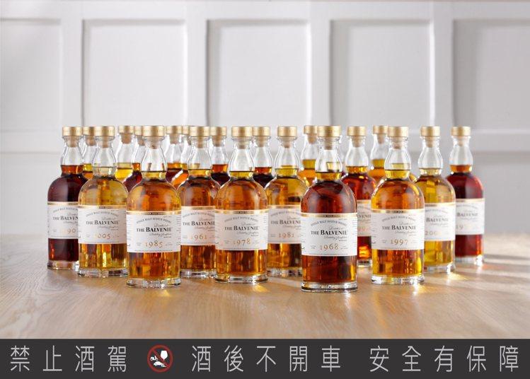 百富首席調酒師典藏全系列25瓶珍稀原酒正式宣布絕版,顛覆酒品收藏新指標。圖/格蘭...