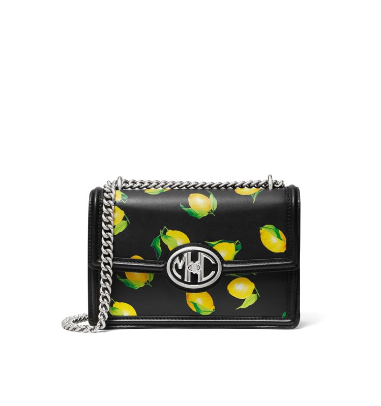 MICHAEL KORS Monogramme檸檬印花鍊帶包,47,700元。圖...