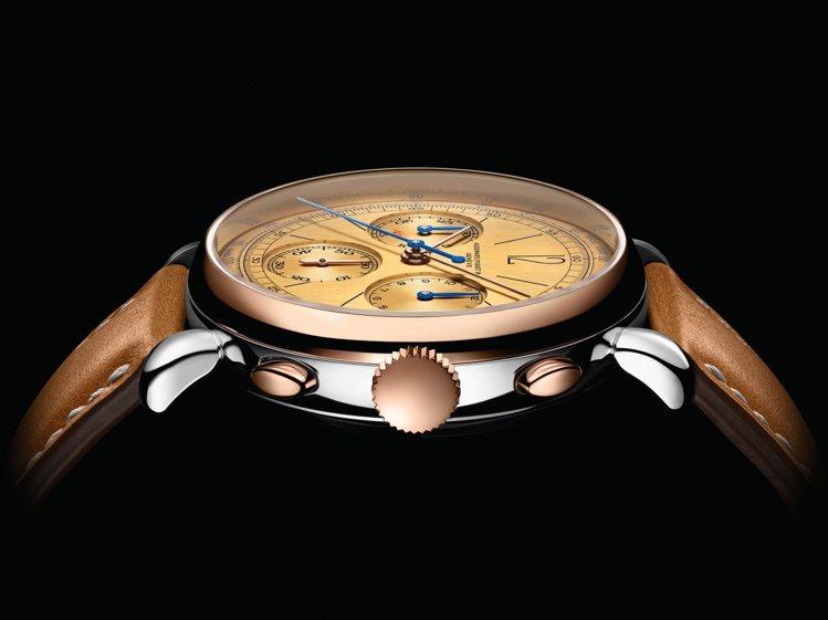 淚滴式表耳和復古的多層次貴金屬運用,「ReMaster」計時碼表是愛彼向1943...