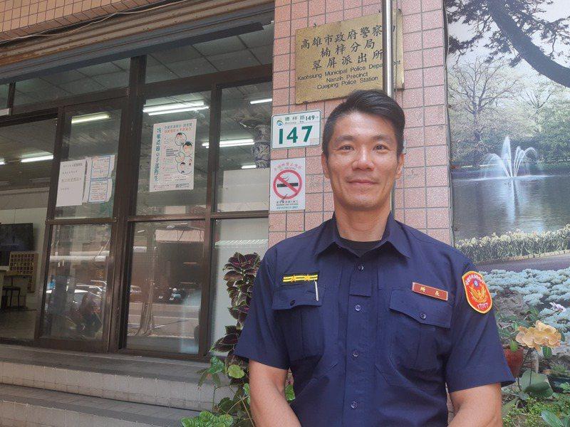 高雄市翠屏派出所所長陳宗靖熱中鐵人運動,長年維持體能訓練,讓他好幾次將逃竄的犯嫌逮個正著。 記者賴郁薇/攝影
