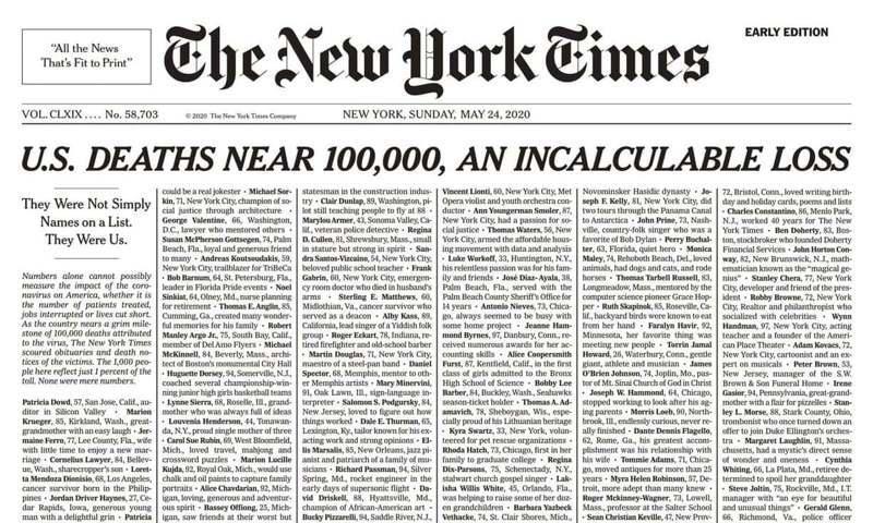 美國的新冠肺炎死亡人數逼近10萬人,紐約時報在周日(24日)的頭版整版刊出近千名死者的訃聞致哀。截圖自紐約時報