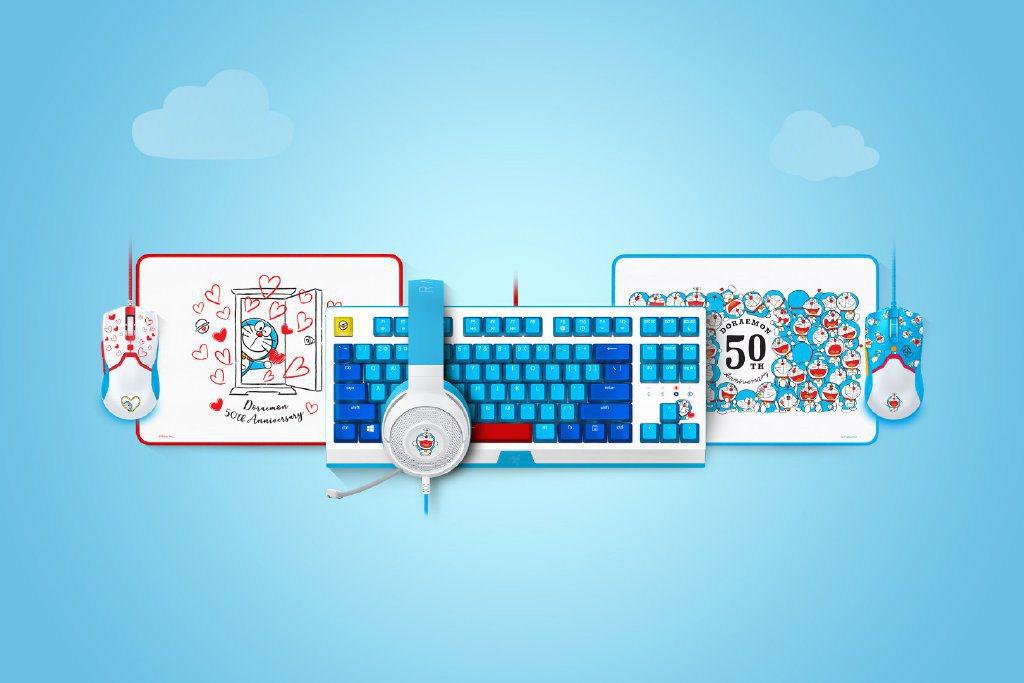 為慶祝《哆啦A夢》50週邊,Razer推出鍵盤、滑鼠等聯名商品/圖片截自Raze...