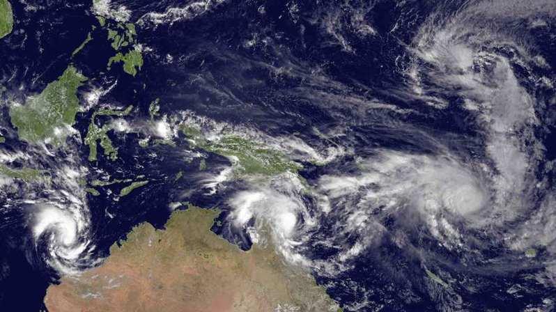 澳洲水域生成的熱帶氣旋「芒果」(Mangga)在消散時和冷鋒交互作用,竟轉化為澳洲10年難得一見的大型風暴。(photo by Wikipedia)