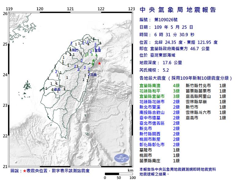 氣象局地震報告。圖/中央氣象局提供