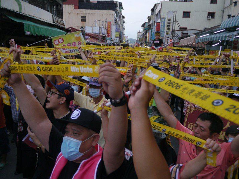 高雄旗山是韓國瑜三山造勢起點,一年多前從這裡開始逆轉情勢,罷韓團體發起三山會師,特地選擇旗山當活動起點。記者徐白櫻/攝影