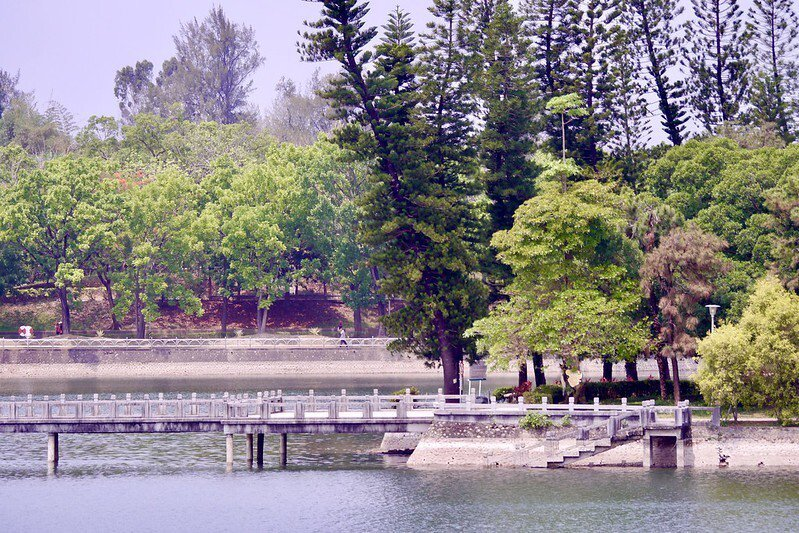 湖面水位下降,雙連亭已是清晰可見