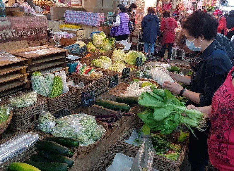 今天菜價略有提升,但跟去年同期相比仍屬低檔。本報資料照片