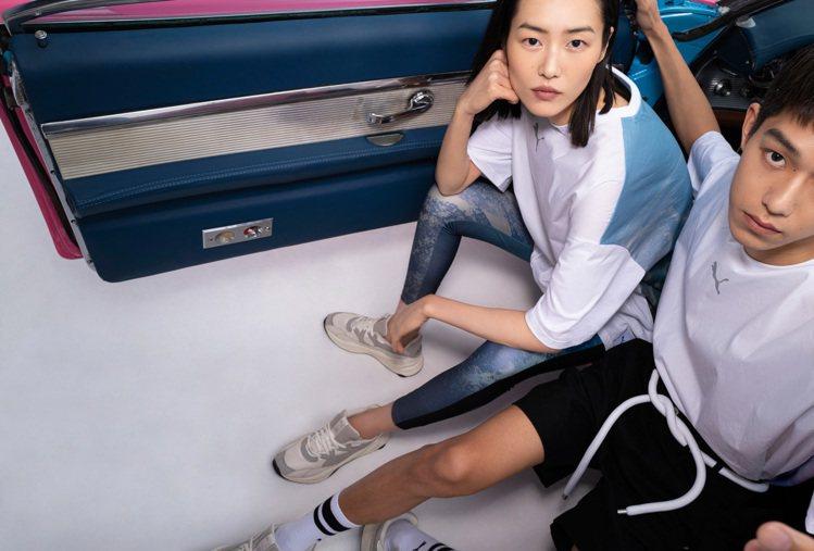 PUMA與劉雯聯名系列短袖T恤2,680元、緊身褲3,980元、RS-2K鞋4,...