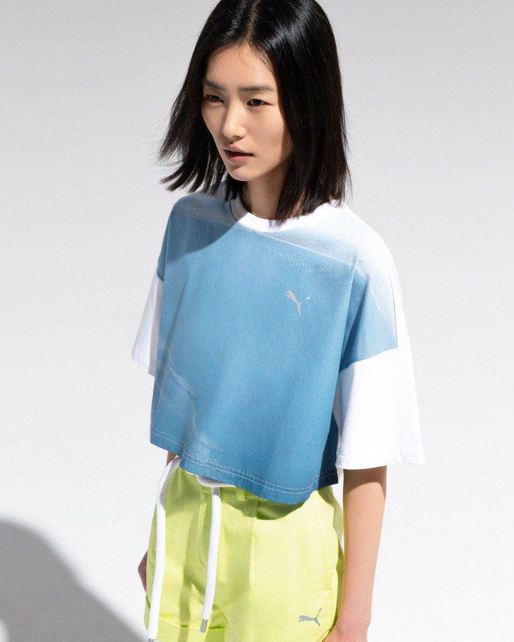 PUMA與劉雯聯名系列GFX短版T恤2,480元、短褲3,480元。圖/PUMA...