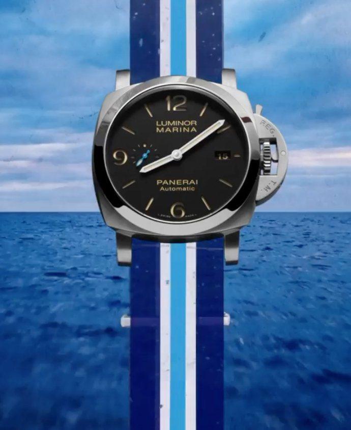 由黑、白、藍三色組成的PANERAI Nato表帶,共有三種不同樣式組合,並已可於台中101、微風、台中大遠百三間專賣店訂購。圖 / 翻攝自PANERAI官方網站。