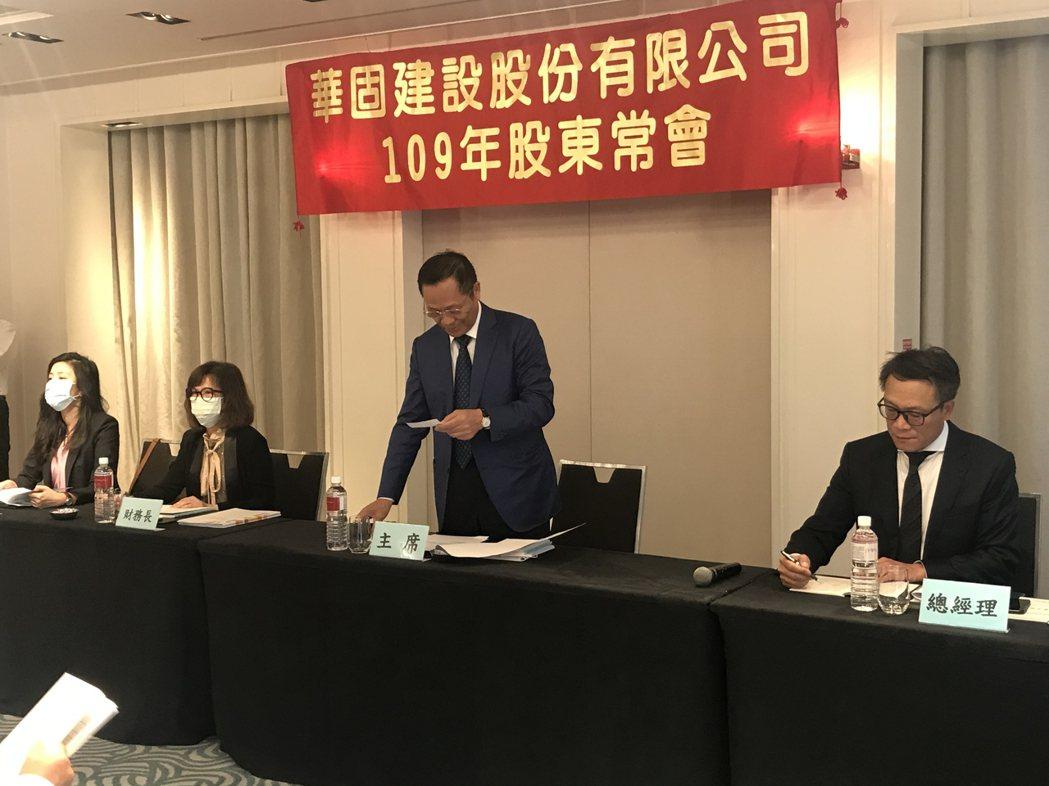 華固建設今日舉行股東會,右一為總經理洪嘉昇。 記者游智文/攝影
