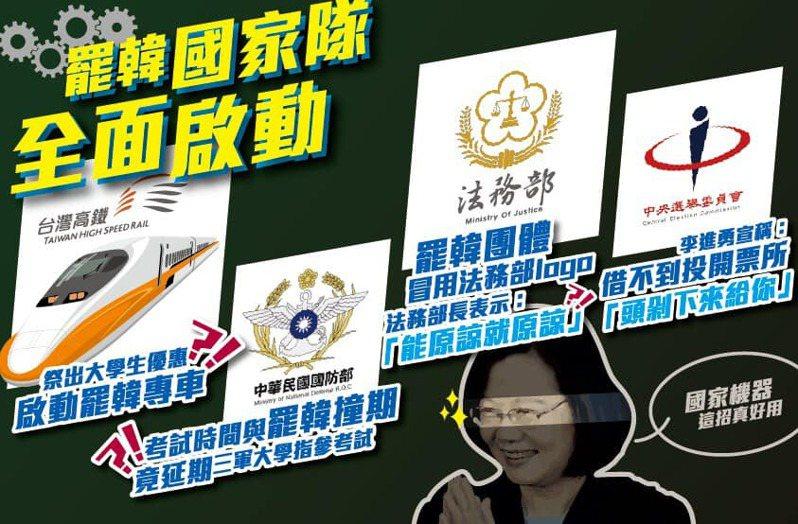 國民黨今天在臉書抨擊蔡政府動用國家機器介入罷韓投票。圖/取自國民黨臉書