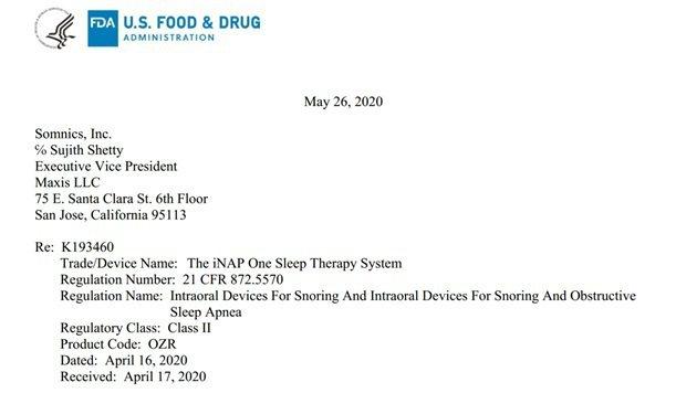 萊鎂醫獲得美國食品藥物管理局FDA 510(K) 核准的通知信函。 萊鎂醫/提供