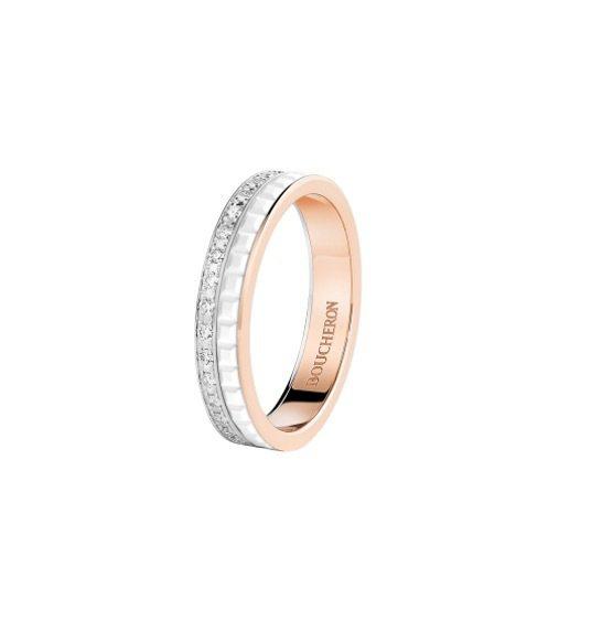 Quatre系列珠寶,白色陶瓷雙圈款式。 圖/Tatler Taiwan提供