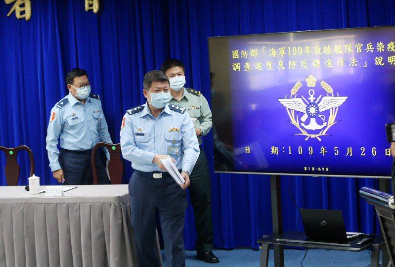 國防部昨舉行敦睦艦隊染疫調查記者會,由國防部副部長張哲平(前)主持。記者邱德祥/攝影