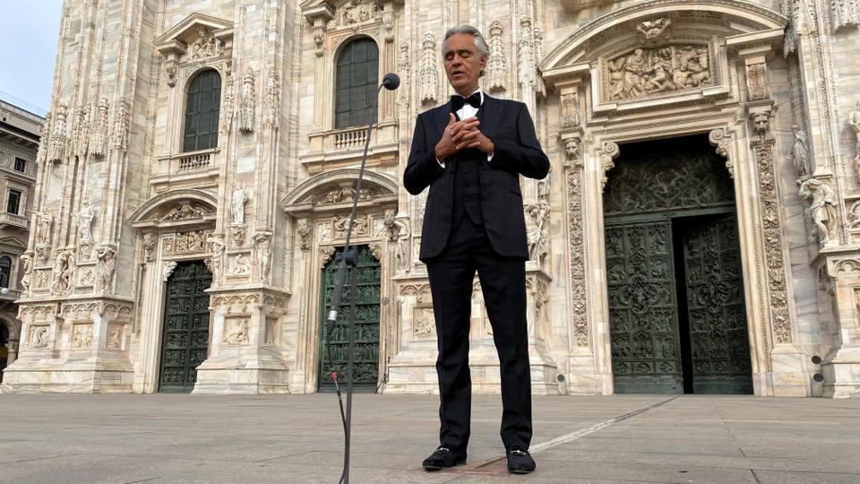 波伽利在復活節時的米蘭大教堂演出轟動全球。圖/路透資料照片