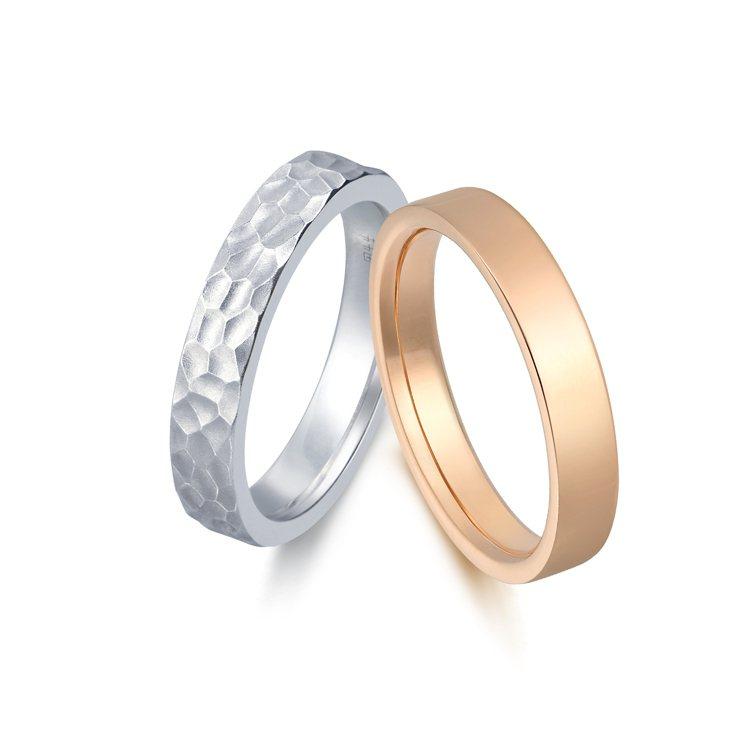 點睛品Promessa Duet專屬訂製系列戒指,18K玫瑰金亮面與18K白金錘...