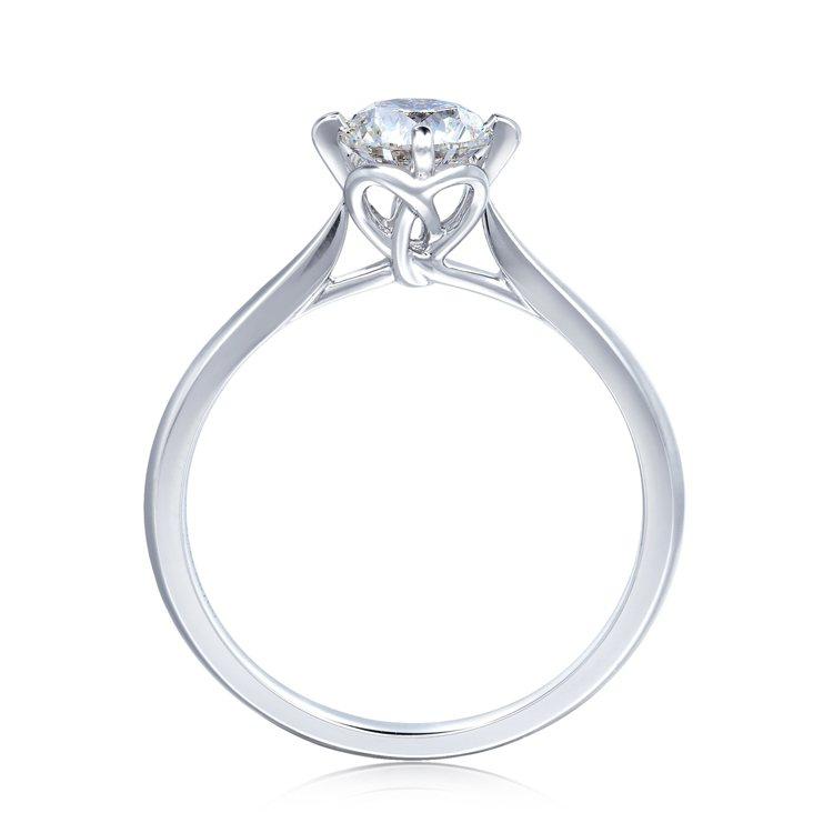 點睛品Promessa 18K白金「同心結」鑽石戒指,為訂製隱藏版。圖/點睛品提...