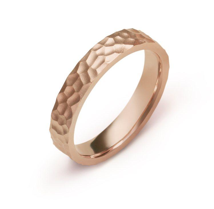 點睛品Promessa Duet訂製系列戒指18K玫瑰金錘鑄造型,14,300元...