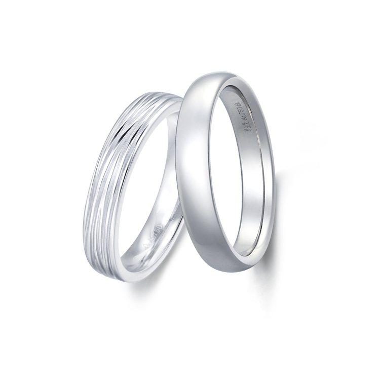 點睛品Promessa Duet專屬訂製系列戒指,18K白金亮面與18K白金樹紋...