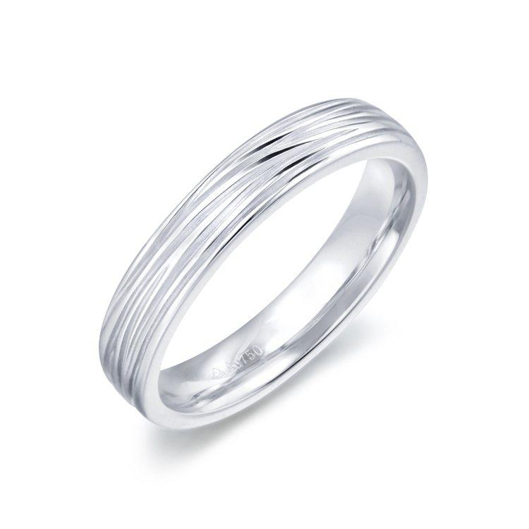 點睛品Promessa Duet 18K白金樹紋造型戒指,14,300元起。圖/...