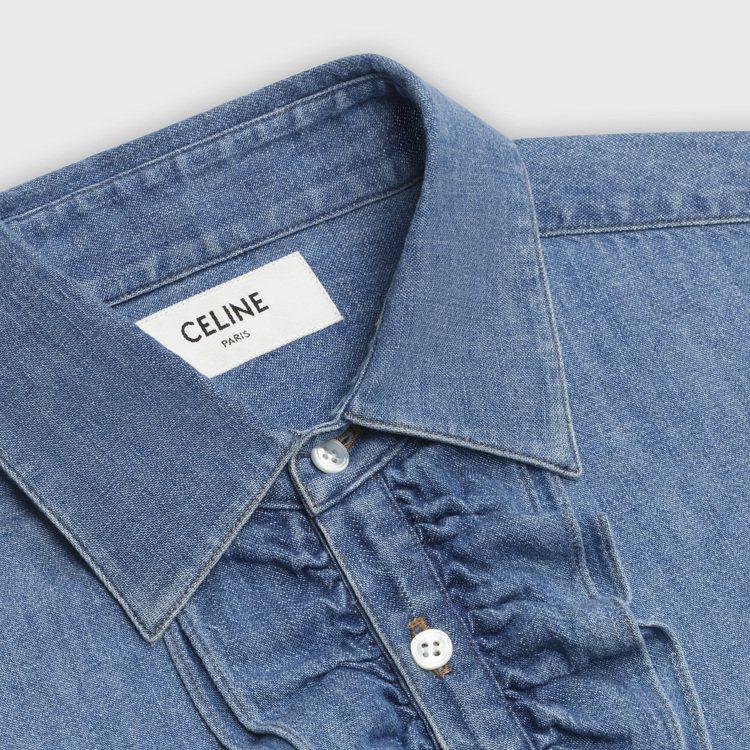 法式荷葉邊牛仔襯衫,27,000元。圖/CELINE BY HEDI SLIMA...