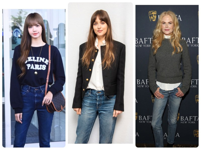 BLACKPINK Lisa、達珂塔強生、妮可基曼都詮釋CELINE春夏牛仔褲。圖/CELINE BY HEDI SLIMANE提供